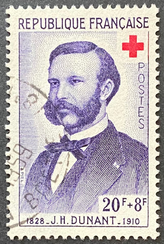 """Au profit de la Croix-Rouge - St. Vincent de Paul"" - For the benefit of the Red-Cross - J. Henri Dunant - 20f + 8f used old stamp - France - 1958  Type: taille-douce Yvert & Tellier: 1188"