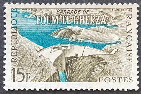 """Réalisations techniques (II) - Barrage de Foum et Gherza - Algérie"" - Technical achievements (II) - Foum et Gherza dam - Algeria - 15 francs mint hinged old stamp - France - 1959  Type: taille-douce Yvert & Tellier: 1203"