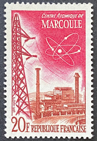 """Réalisations techniques (II) - Centre atomique de Marcoule"" - Technical achievements (II) - Marcoule atomic center - 20 francs mint never hinged old stamp - France - 1959  Type: taille-douce Yvert & Tellier: 1204"