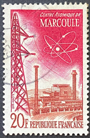 """Réalisations techniques (II) - Centre atomique de Marcoule"" - Technical achievements (II) - Marcoule atomic center - 20 francs used old stamp - France - 1959  Type: taille-douce Yvert & Tellier: 1204"