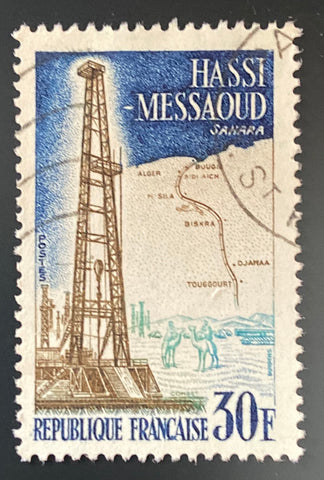 """Réalisations techniques (II) - Hassi Messaoud - Sahara"" - Technical achievements (II) - Hassi Messaoud - Sahara - 30f used old stamp - France - 1959  Type: taille-douce Yvert & Tellier: 1205"