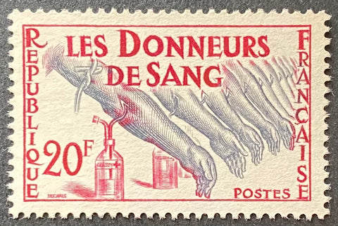 """Hommage aux donneurs de sang"" - Tribute to blood donors - 20f MNH old stamp w/o gum - France - 1959  Type: taille-douce Yvert & Tellier: 1220"
