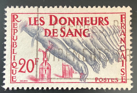 """Hommage aux donneurs de sang"" - Tribute to blood donors - 20f used old stamp - France - 1959  Type: taille-douce Yvert & Tellier: 1220"