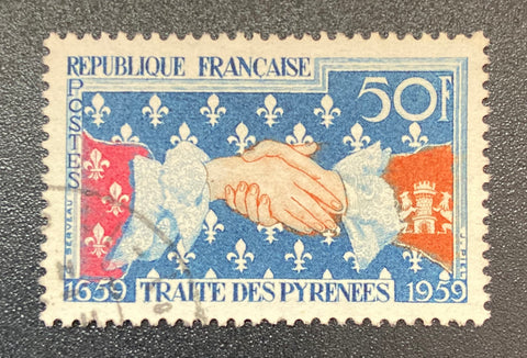 """Tricentenaire du traité des Pyrénées - symbole du traité"" - Tercentenary of the Treaty of the Pyrenees - symbol of the treaty - 50f used old stamp - France - 1959  Type: taille-douce Yvert & Tellier: 1223"