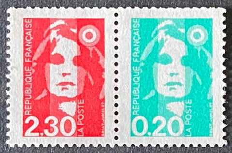"""Type Marianne du Bicentenaire"" - Type Marianne from the bicentenary - pair 2f30 + 20c MNH old stamps - France - 1990  Type: taille-douce Yvert & Tellier: stamp 2614a (stamps 2614 and 2618)"