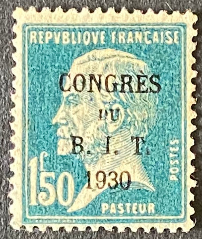 """Congrès du Bureau International du Travail à Paris"" - Congress of the International Labor Office in Paris - 1f50 mint never hinged surcharged old stamps - France - 1930  Type: typography Yvert & Tellier: 265 (181)"