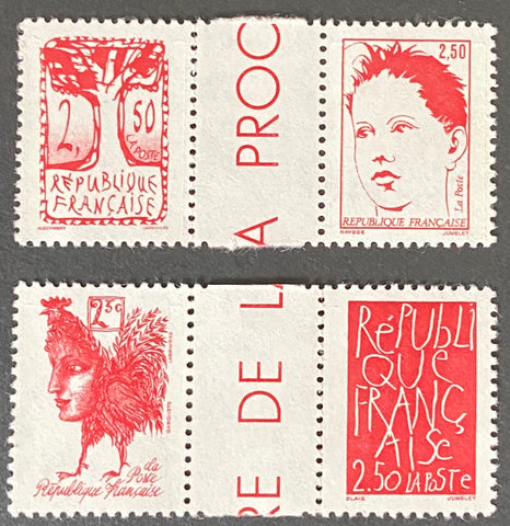 """Bicentenaire de la proclamation de la République - Oeuvres d'artistes contemporains"" - Bicentenary of the proclamation of the Republic - Works by contemporary artists - complete set of 2 pairs of MNH old stamp - France - 1992  Type: taille-douce Yvert & Tellier: 2772 - 2773 -2774 -2775"