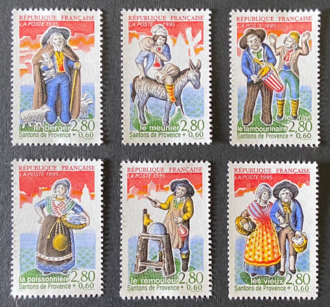 """Personnages célèbres - Les santons de Provence"" - Famous people - Les santons de Provence - complete set of 6 MNH old stamp - France - 1995  Type: taille-douce Yvert & Tellier: 2976 / 2981"