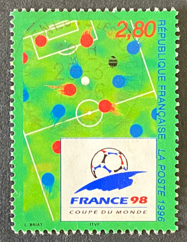"""Coupe du Monde de Football - France 98"" - Football World Cup - France 98 - 2f80 used old stamp - France - 1996  Type: rotogravure Yvert & Tellier: 2985"