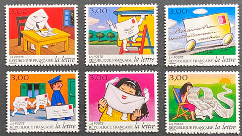 """Les journées de la lettre - le voyage d'une lette"" - The days of a letter - the journey of a letter - complete set of 6 MNH old stamps - France - 1997  Type: rotogravure Yvert & Tellier: 3060 - 3061 - 3062 - 3063 - 3064 - 3065"