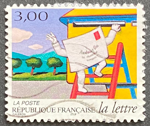 """Les journées de la lettre - le voyage d'une lettre - pli grimpant à l'échelle pour accéder à la boîte aux lettres"" - The days of a letter - the journey of a letter - fold climbing the ladder to access the mailbox - France - 1997  Type: rotogravure Yvert & Tellier: 3061"