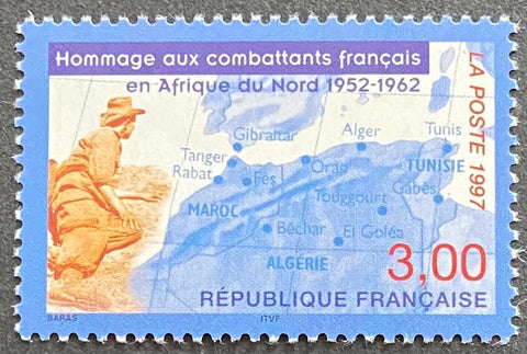 """Hommage aux combatants français en Afrique du Nord"" - Tribute to the French soldiers in Northern Africa - 3f MNH old stamp from casters - France - 1997  Type: rotogravure Yvert & Tellier: 3072"