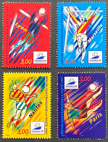 """France 98 - Coupe du Monde de Football (III)"" - France 98 - Football World Cup (III) - complete set of 4 MNH old stamps - France - 1997  Type: rotogravure Yvert & Tellier: 3074 - 3075 - 3076 - 3077"