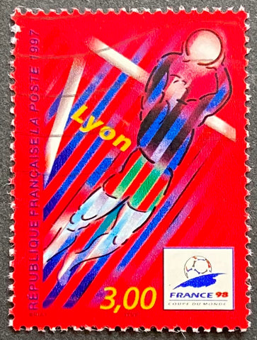 """France 98 - Coupe du Monde de Football (III) - Lyon"" - France 98 - Football World Cup (III) - Lyon - 3f used old stamp - France - 1997  Type: rotogravure Yvert & Tellier: 3074"