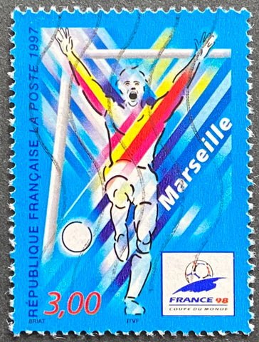 """France 98 - Coupe du Monde de Football (III) - Marseille"" - France 98 - Football World Cup (III) - Lyon - 3f used old stamp - France - 1997  Type: rotogravure Yvert & Tellier: 3075"