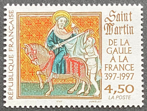 """De la Gaule à la France - Saint Martin"" - From Gaule to France - Saint Martin - 4.50 francs MNH old stamp - France - 1997  Type: taille douce Yvert & Tellier: 3078"
