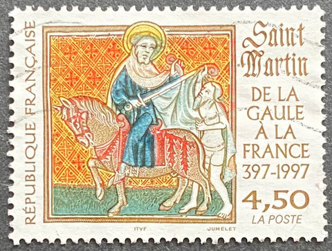 """De la Gaule à la France - Saint Martin"" - From Gaule to France - Saint Martin - 4.50 francs used old stamp - France - 1997  Type: taille douce Yvert & Tellier: 3078"