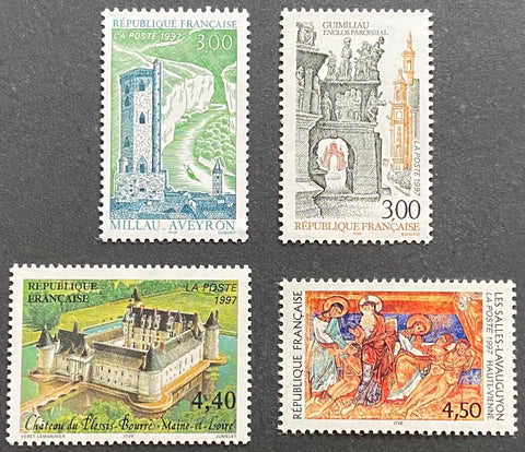"""Série touristique"" - Touristic series - complete set of 4 MNH old stamps - France - 1997  Type: offset, taille-douce and rotogravure Yvert & Tellier: 3079 - 3080 - 3081 - 3082"