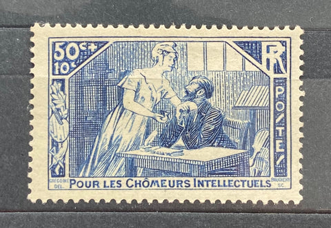 """Au profit des chômeurs intellectuels"" - For the benefit of the unemployed intellectual - 50 centimes + 10 centimes bleu mint hinged old stamp - France - 1935  Yvert & Tellier: 307"