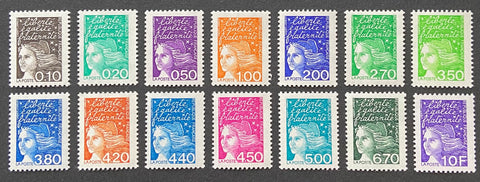 """Type Marianne du 14 Juillet"" - Type Marianne of July 14th - complete set of 14 MNH old stamps - France - 1997  Type: taille-douce Yvert & Tellier: 3086-3087-3088-3089-3090-3091-3092-3093-3094-3095-3096-3097-3098-3099"