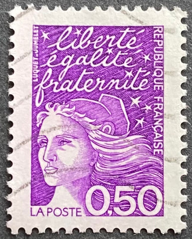 """Type Marianne du 14 Juillet"" - Type Marianne of July 14th - 50 centimes used old stamp - France - 1997  Type: taille-douce Yvert & Tellier: 3088"