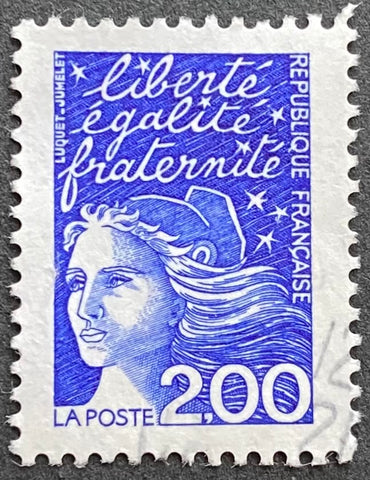 """Type Marianne du 14 Juillet"" - Type Marianne of July 14th - 2 francs used old stamp - France - 1997  Type: taille-douce Yvert & Tellier: 3090"