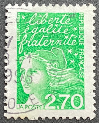 """Type Marianne du 14 Juillet"" - Type Marianne of July 14th - 2.70 francs used old stamp - France - 1997  Type: taille-douce Yvert & Tellier: 3091"