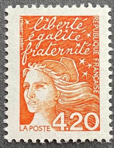 """Type Marianne du 14 Juillet"" - Type Marianne of July 14th - 4.20 francs MNH old stamp - France - 1997  Type: taille-douce Yvert & Tellier: 3094"