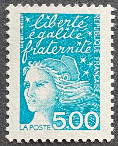 """Type Marianne du 14 Juillet"" - Type Marianne of July 14th - 5 francs MNH old stamp - France - 1997  Type: taille-douce Yvert & Tellier: 3097"