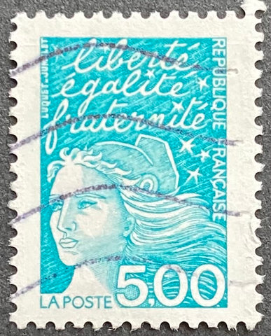 """Type Marianne du 14 Juillet"" - Type Marianne of July 14th - 5 francs used old stamp - France - 1997  Type: taille-douce Yvert & Tellier: 3097"
