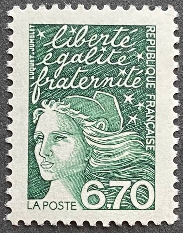 """Type Marianne du 14 Juillet"" - Type Marianne of July 14th - 6.70 francs MNH old stamp - France - 1997  Type: taille-douce Yvert & Tellier: 3098"