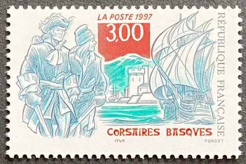 """Corsaires basques"" - Basque pirates - 3 francs MNH old stamp - France - 1997  Type: taille-douce Yvert & Tellier: stamp 3103"