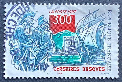 """Corsaires basques"" - Basque pirates - 3 francs used old stamp - France - 1997  Type: taille-douce Yvert & Tellier: stamp 3103"