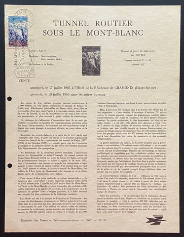 """Tunnel routier sous le Mont-Blanc"" - 1st. day document - Road tunnel under Mont-Blanc - 30 c old stamp - France - 1965  Type: taille-douce  Yvert & Tellier: stamp 1454"