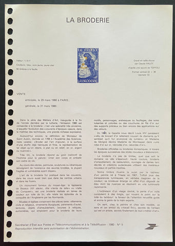 """Document Officiel - La broderie"" - Official document - Embroidery - 1.10 f old stamp - France - 1980  Type: taille-douce  Yvert & Tellier: stamp 2079"