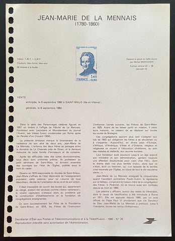 """Document Officiel - Jean-Marie de la Mennais"" - Official document - Jean-Marie de la Mennais -  1.40f + 30 c old stamp - France - 1980  Type: rotogravure  Yvert & Tellier: stamp 2097"