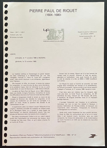 """Document Officiel - Pierre Paul de Riquet"" - Official document - Pierre Paul de Riquet - 1.40f + 30c old stamp - France - 1980  Type: taille-douce Yvert & Tellier: stamp 2100"