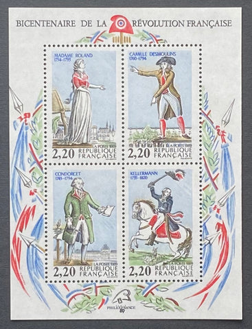 """Bicentenaire de la Révolution Française - Personnages célèbres"" - Bicentenary of the French Revolution - famous characters - block sheet nr. 10 with 4 MNH old stamps - France - 1989  Yvert & Tellier: block sheetlet (feuillet) nr.10 with stamps 2592/2595"