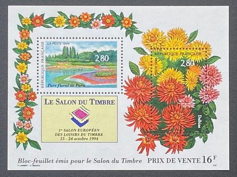 """Le salon du timbre 1994- The stamp fair 1994 - block sheet nr. 16 with 2 MNH old stamps - France - 1994  Yvert & Tellier: block sheetlet (feuillet) nr. 16 with stamps 2909-2910"