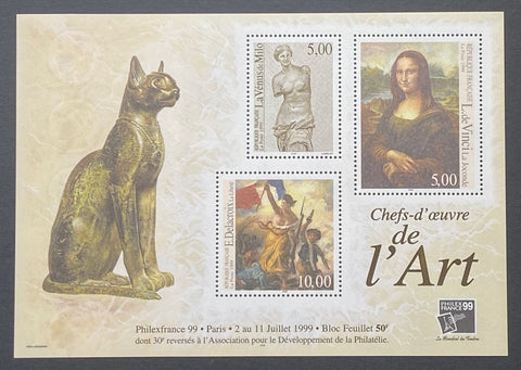 """PhilexFrance 99 - Chefs-d´œuvres de l´Art""- PhilexFrance 99 - Masterpieces of Art - block sheet nr. 23 with 3 MNH old stamps - France - 1999  Yvert & Tellier: block sheetlet (feuillet) nr. 23 with stamps 3234/3236"