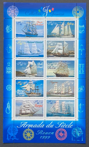 """Collection jeunesse - Armada du siècle""- Youth collection - The century fleet - block sheet nr. 25 with 10 MNH old stamps - France - 1999  Yvert & Tellier: block sheetlet (feuillet) nr. 25 with stamps 3269/3278"