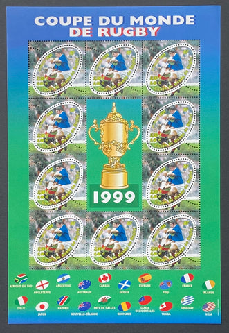 """Coupe du Monde de Rugby 1999""- Rugby World Cup 1999 - block sheet nr. 26 with 10 MNH old stamps - France - 1999  Yvert & Tellier: block sheetlet (feuillet) nr. 26 with stamps 3280"