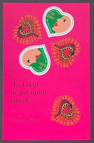 """Saint-Valentin - Coeurs d'Yves Saint Laurent""- Valentine's Day - Yves Saint Laurent Hearts - block sheet nr. 27 with 5 MNH old stamps - France - 2000  Yvert & Tellier: block sheetlet (feuillet) nr. 27 with stamps 3295-3296"