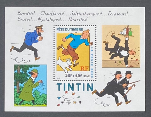 """Fête du timbre - Tintin""- Stamp Festival - Tintin - block sheet nr. 28 with 1 MNH old stamp - France - 2000  Yvert & Tellier: block sheetlet (feuillet) nr. 28 with stamp 3304"