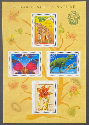"""Nature de France (XV) - Faune et flore""- Nature of France (XV) - Fauna and flora - block sheet nr. 31 with 4 MNH old stamps - France - 2000"