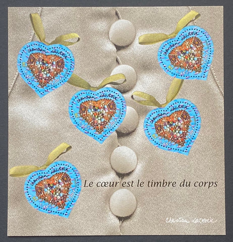 """Saint-Valentin - Coeurs de Christian Lacroix""- Valentine's Day - Christian Lacroix Hearts - block sheet nr. 33 with 5 MNH old stamps - France - 2001  Yvert & Tellier: block sheetlet (feuillet) nr. 33 with stamps 3368"