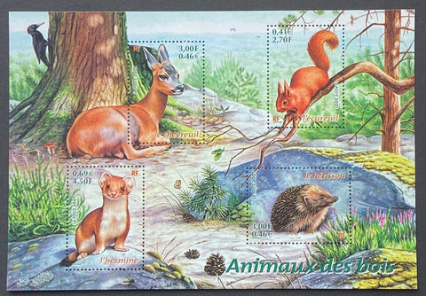 """Nature de France (XVI) - Animaux des bois""- Nature of France (XVI) - Animals from the woods - block sheet nr. 36 with 4 MNH old stamps - France - 2001  Yvert & Tellier: block sheetlet (feuillet) nr. 36 with stamps 3381/3384"