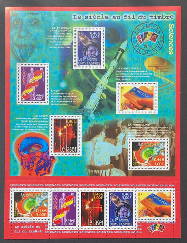 """Le siècle au fil du timbre (IV) - Sciences""- The century through the stamp (IV) - Sciences - block sheet nr. 39 with 10 MNH old stamps - France - 2001  Yvert & Tellier: block sheetlet (feuillet) nr. 39 with stamps 3422/3426"