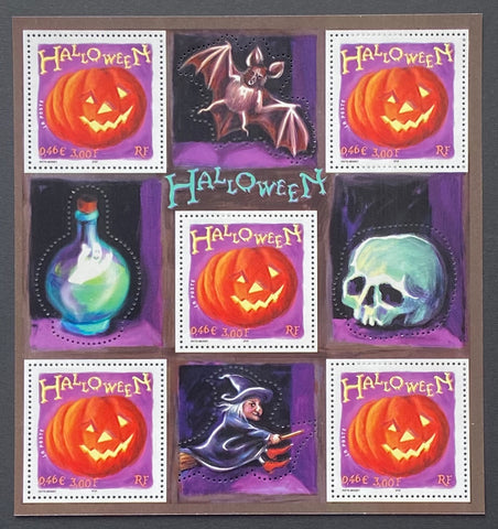 """Halloween""- block sheet nr. 40 with 5 MNH old stamps - France - 2001  Yvert & Tellier: block sheetlet (feuillet) nr. 40 with stamps 3428"