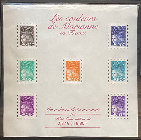 """Les couleurs de Marianne en Euros"" - Marianne's colors in Euros - block sheet nr. 41 with 7 MNH old stamps - France - 2001"